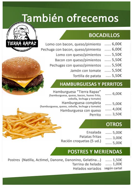 Menú Bocadillos,hamburguesas.. Tierra Rapaz