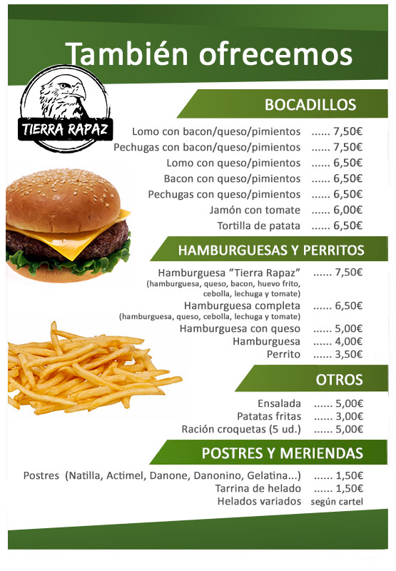 Carta Restaurante Tierra Rapaz